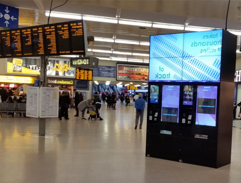 bespoke kiosk at Leeds train station